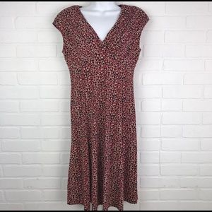 Evan Picone Black Label 4 Red Cream Print Dress D
